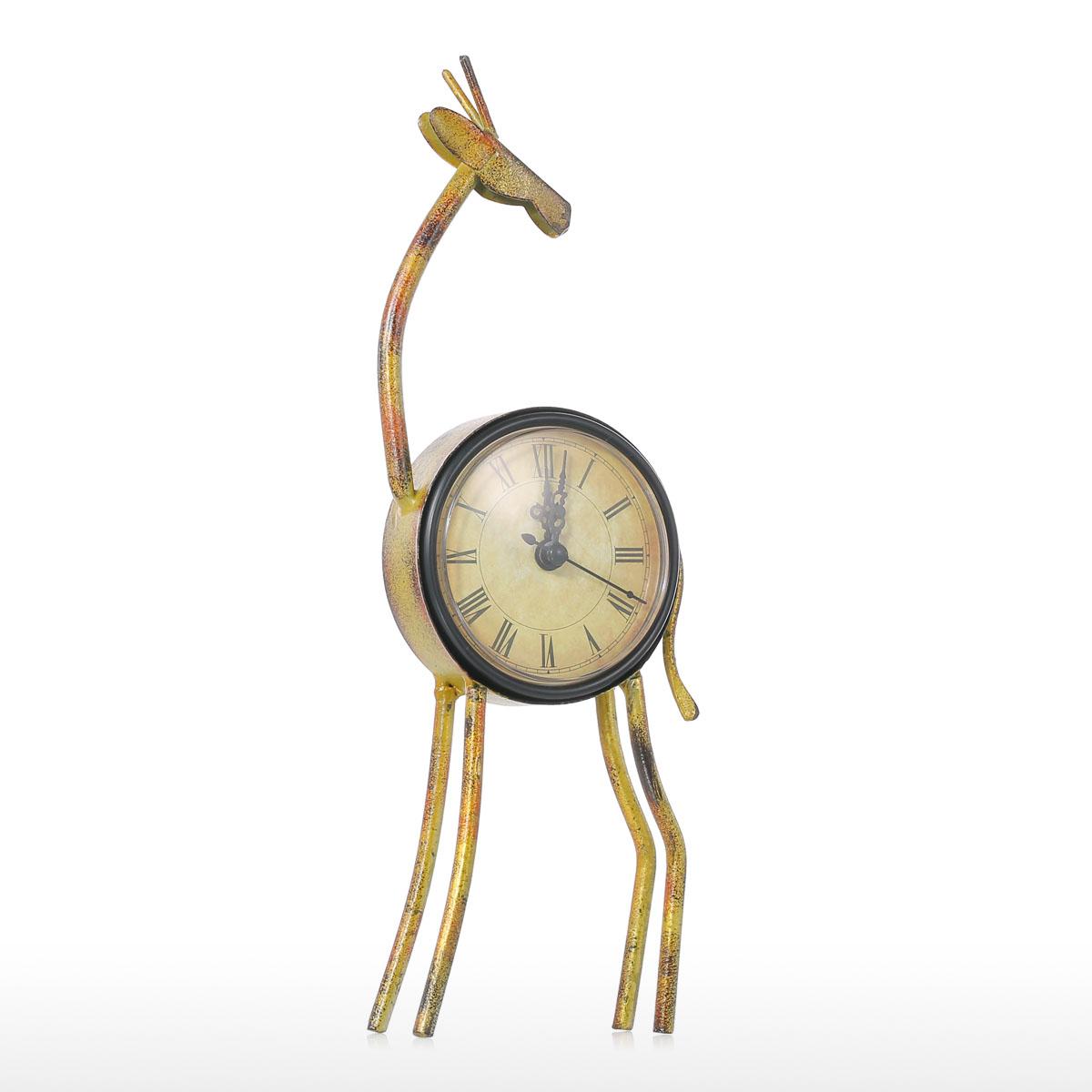 Best And Cheap Light Yellow Deer Clock Handmade Vintage