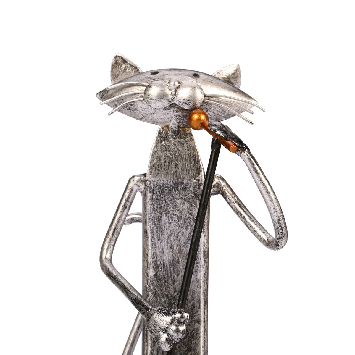 Tooarts Metal Figurine Iron Rooster Home Decor Articles: Best And Cheap Silver / Gray Tooarts Music Cat Band