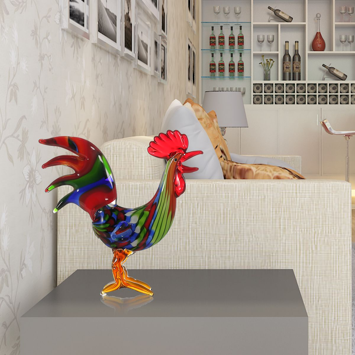Tooarts Metal Figurine Iron Rooster Home Decor Articles: Best And Cheap Multicolored Tooarts Colorful Rooster Glass