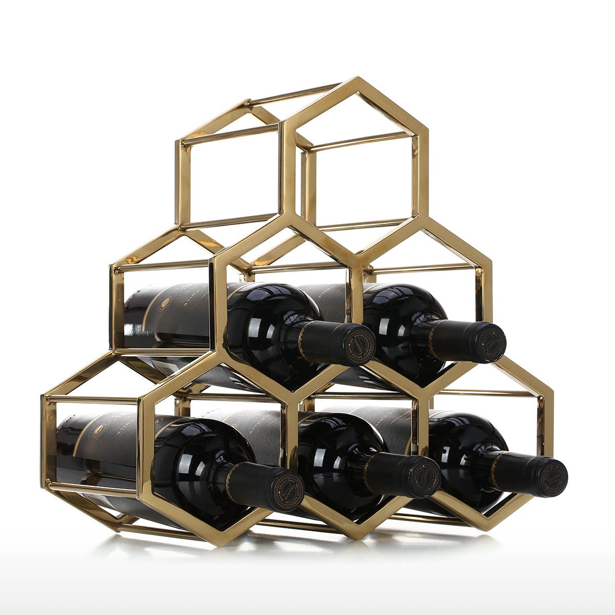 honeycomb wine rack metal wine holder innovative wine holder 6 bottle rack horizontal storage compact design free standing home decor practical gift