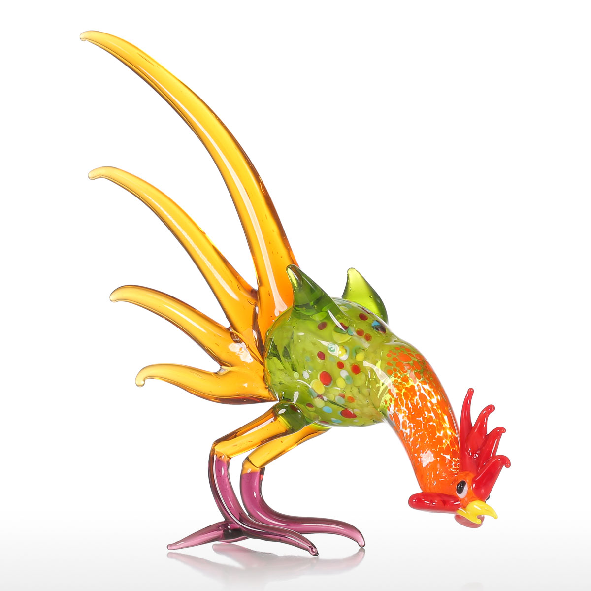 Tooarts Metal Figurine Iron Rooster Home Decor Articles: Best And Cheap Multicolored Tooarts Rooster Gift Glass