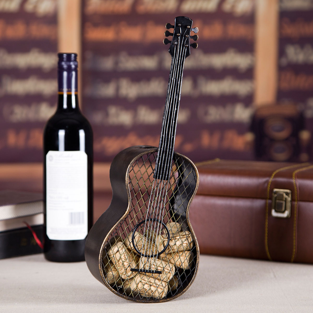 bd company a_034 Tooarts Guitar Wine Cork Container Practical Sculp Home Decor